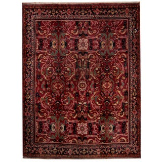 Herat Oriental Persian Hand-knotted 1920s Antique Mahal Red/ Black Wool Rug (9'3 x 12'2)