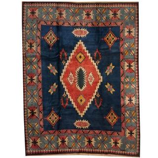 Herat Oriental Turkish Hand-knotted Kazak Navy/ Blue Wool Rug (8'6 x 11')