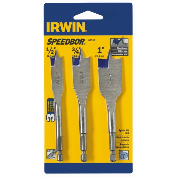 "Irwin 87950 4"" Blue Groove Speedbor Spade Bit Set 3-count"