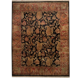 Herat Oriental Indo Hand-knotted Mahal Black/ Red Wool Rug (9'3 x 11'11)