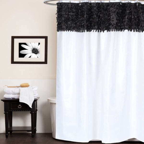 Beautiful Black And White Leaf Banded Fabric Shower