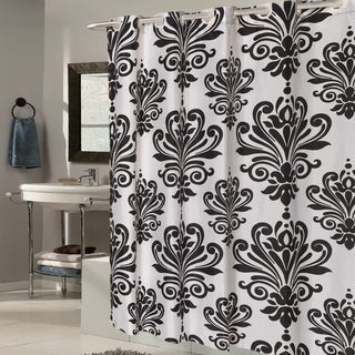 EZ On Fleur De Lis Fabric Shower Curtain/ Liner with Built-in Hooks (70 x 75)