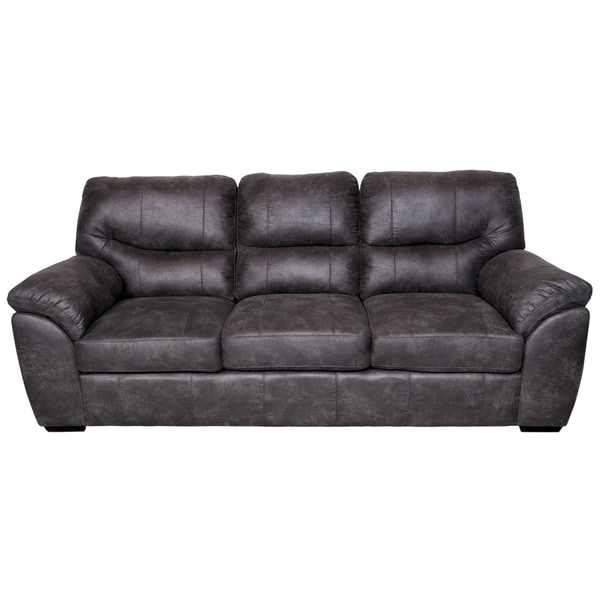 Porter Grayson Soft Faux Suede Leather Grey Microfiber Sofa