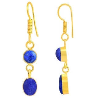 Orchid Jewelry Yellow Gold Overlay 7 4/5ct Lapis Earrings