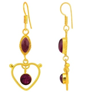 Orchid Jewelry Yellow Gold Overlay 7 2/5ct. Zoisite Gemstone Earrings