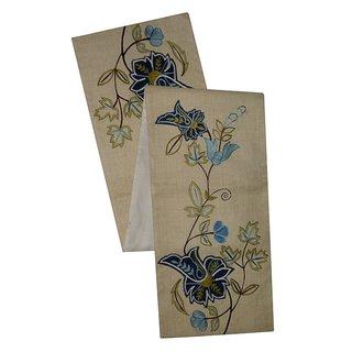 Celebration Floral Ivory Embroidered Jute Table Runner