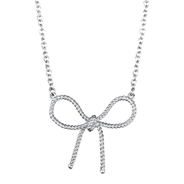 Sterling Silver Beaded Bow Charm Necklace