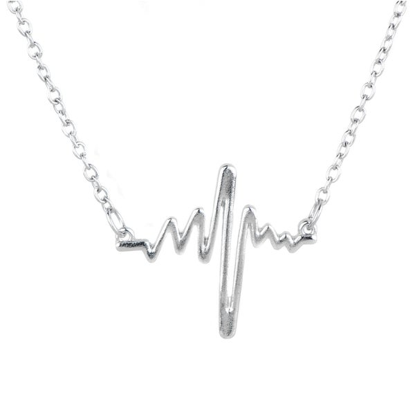Zinc Alloy Heartbeat Necklace