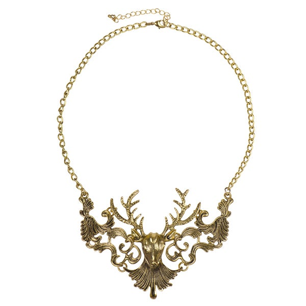 Brass Deer Statement Necklace
