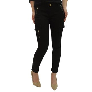 Juniors' Skinny Black Cargo Pants with Zipper
