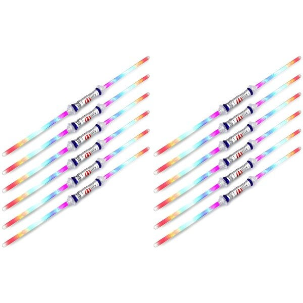 Velocity Toys Dual Double Edged Flashing LED Light Up Party Favor Toy Light Sword Sabers (Set of 12)