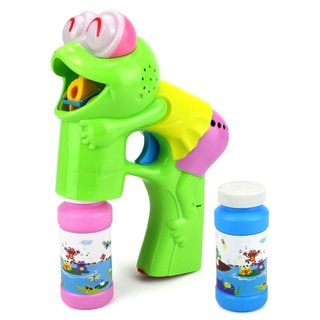 Velocity Toys Fun Frog Battery Operated Toy Bubble Blowing Gun with 2 Bottles of Bubble Liquid