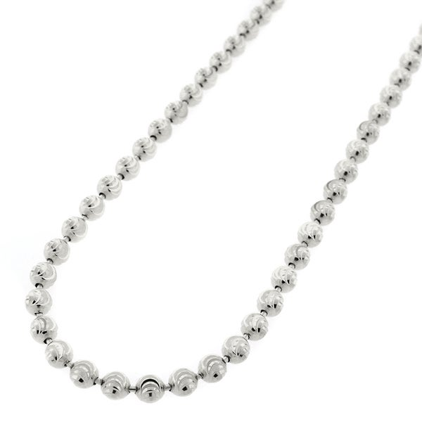 14k White Gold Mens Womens 4mm Moon Cut Bead Pendant Chain Necklace
