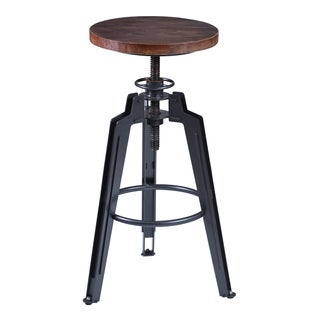 Armen Living Tribeca Industrial Grey Finish with Pine Wood Seat Adjustable Bar Stool