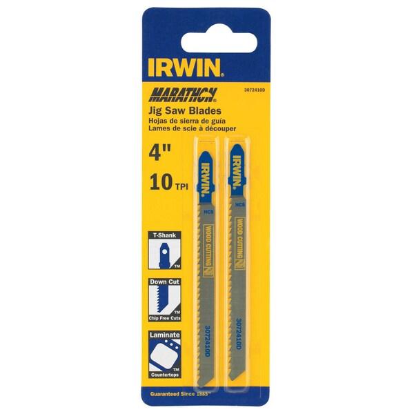 "Irwin Marathon 3072410D 2-count 4"" 10 TPI T-Shank Down Cut Jigsaw Blades"