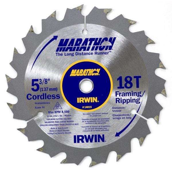 "Irwin Marathon 14015 5-3/8"" 18T Marathon Cordless Circular Saw Blade"