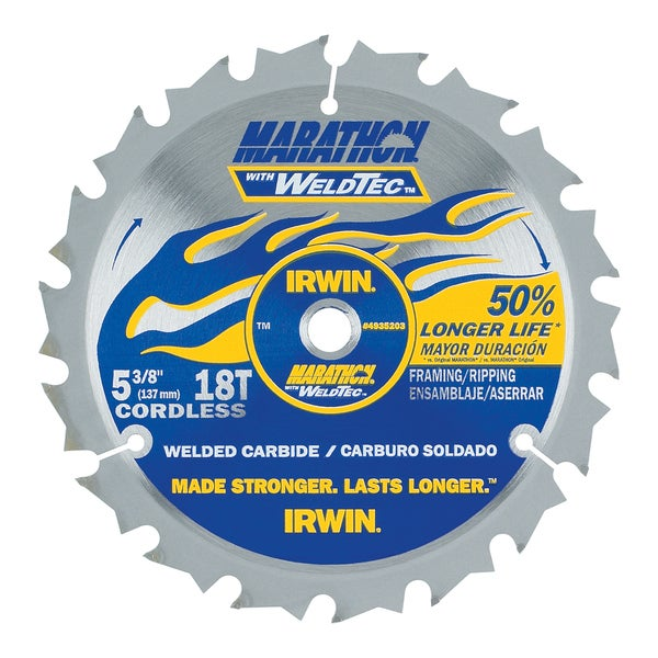 "Irwin 4935203 5-3/8"" 18 Tooth Carbide Marathon WeldTec Circular Saw Blade"