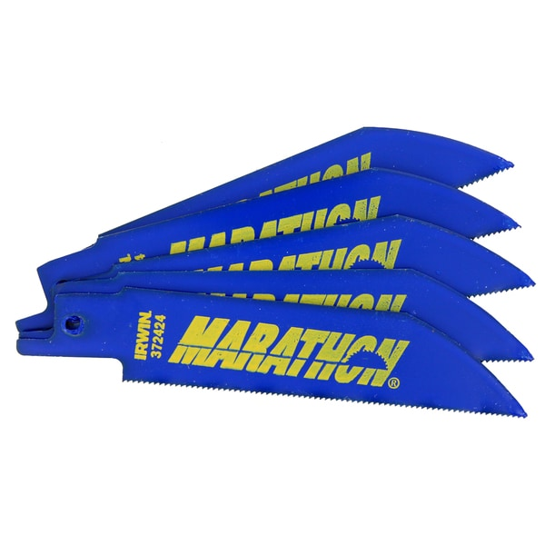 "Irwin 372424P5 4"" Marathon 24 TPI Reciprocating Saw Blade Pack 5-count"