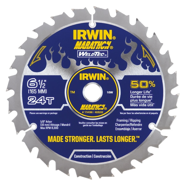 "Irwin 1794386 6-1/2"" 24 Tooth Carbide Marathon Framing Circular Blade"
