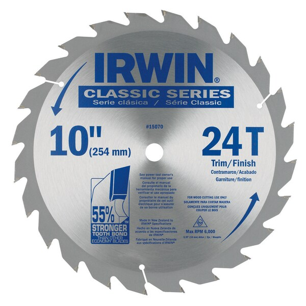 "Irwin 15070 10"" 24 Tooth Circular Saw Blade"