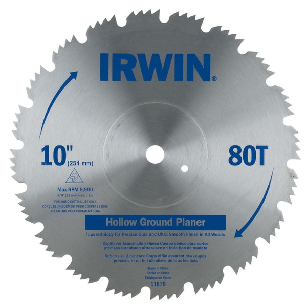 "Irwin 11670 10"" Steel 80 Tooth Hollow Ground Planer Saw Blade"