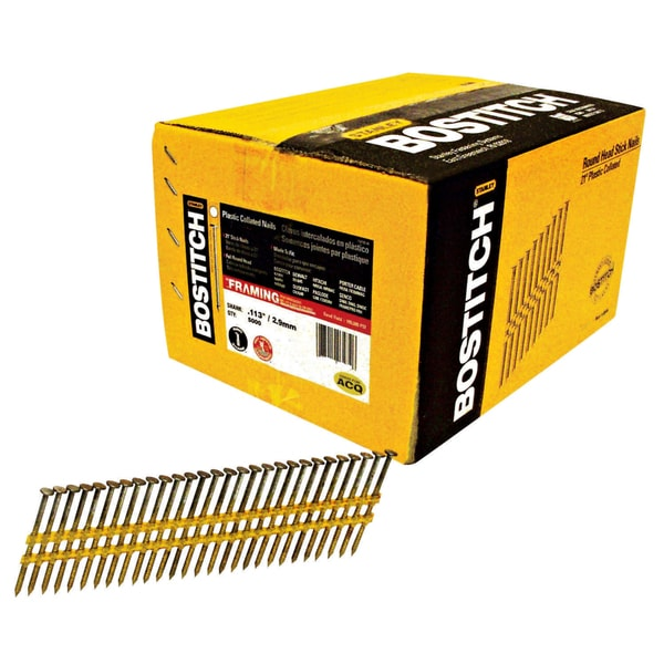 "Bostitch Stanley RH-S8DR113EP 2-3/8"" Ring Shank 21 Stick Framing Nails 5,000-count"