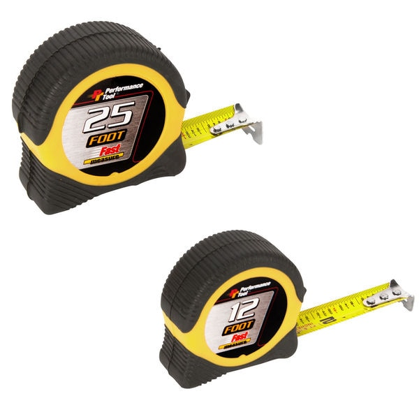 Performance Tool W5025BP 25' & 12' Tape Measure 2 Piece Set