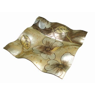 Large Square Magnolia Wave Plate with Floral Designs