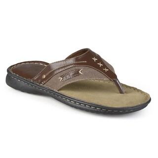 Vance Co. Men's Casual Faux Leather Flip Flop Sandals