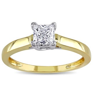 Miadora Signature Collection 14k 2-tone Yellow and White Gold 3/4ct TDW Princess-cut Diamond Engagement Ring (G-H, I2-I3)