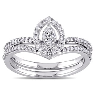 Miadora 10k White Gold 1/3ct TDW Diamond Marquise-shape Cluster Bridal Ring Set (G-H, I2-I3)