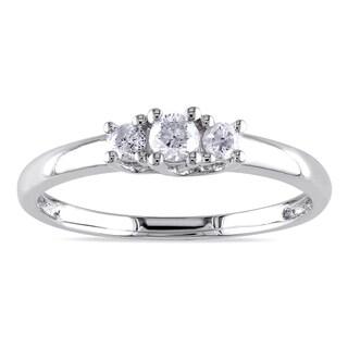Miadora 10k White Gold 1/4ct TDW Diamond 3-stone Engagement Ring (G-H, I2-I3)