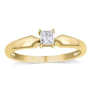 Miadora 10k Yellow Gold 1/4ct TDW Princess-cut Diamond Solitaire Engagement Ring (J-K, I2-I3)