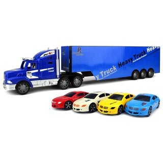 Velocity Toys Transporter Race Trailer Friction Toy Truck Ready To Run with 4 Toy Cars, No Batteries Required (Colors May Vary)