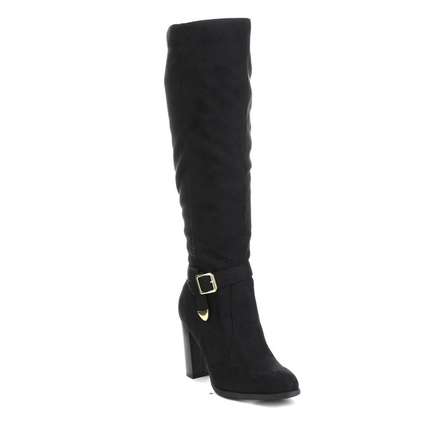 Beston Jacob-02 Women's Chic Knee-high Side Zipper Strap Riding Boots Size 7.5 in Black(As Is Item)