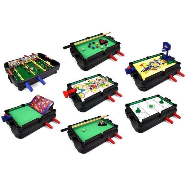 Velocity Toys Ultimate 7-in-1 Novelty Table Top Arcade Games Toy Play Set with Table and Accessories