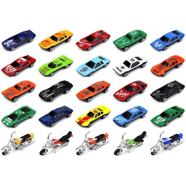 Velocity Toys Turbo Racers 25-piece Diecast 1:64 Toy Vehicle Playset with Variety of Vehicles