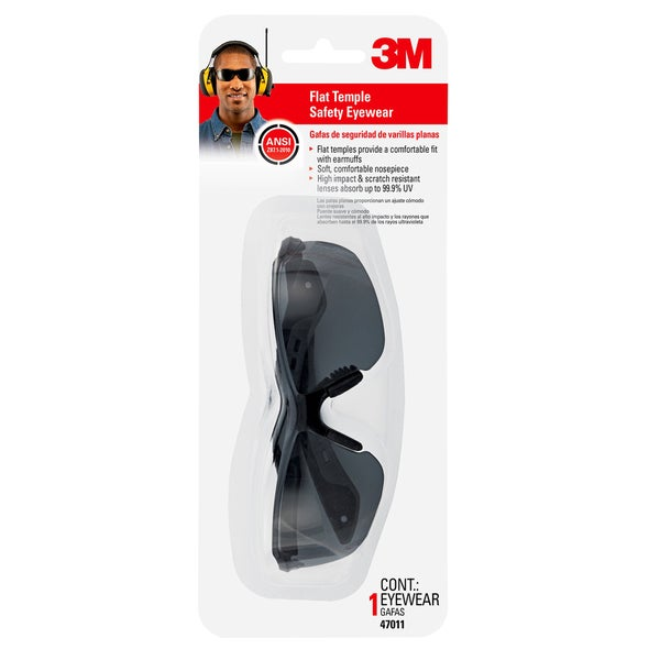 3M 47011-WV6 Grey Flat Temple Safety Eyewear
