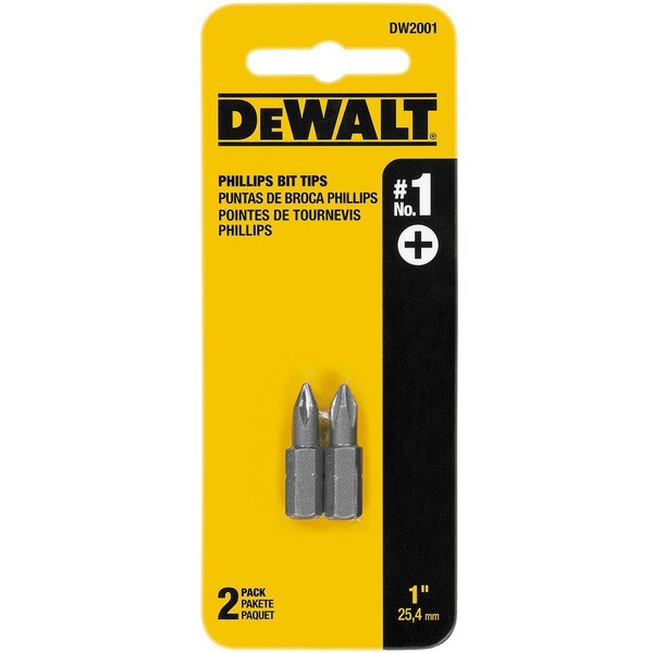"Dewalt DW2001 1"" #1 Phillips Power Bits 2-count"