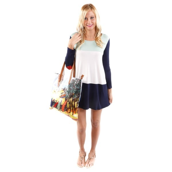 Hadari Women's Color Blocked Heart Tunic (Size Small) and Beach-Print Fabric Purse 2-piece Set