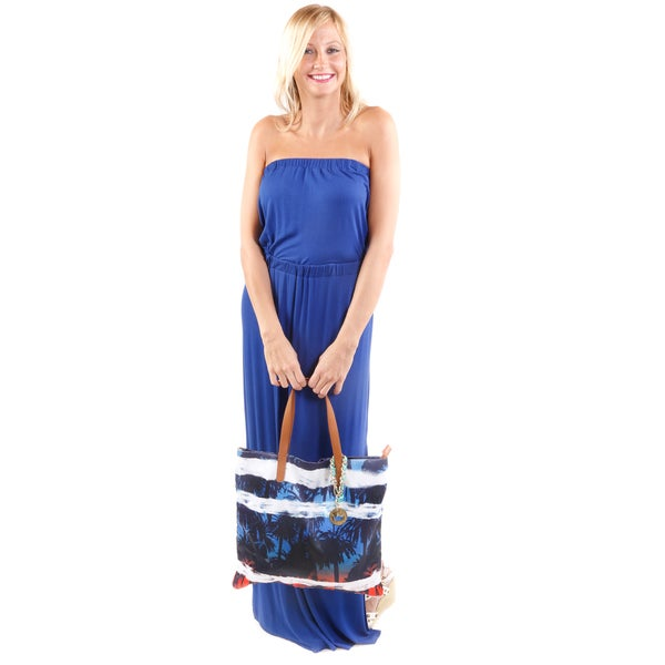 Hadari Women's Strapless Maxi Dress and Palm-Print Fabric Purse 2-piece Set