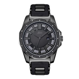 JBW Men's Black Silicone and Ion-plated Stainless Steel Diamond Regal J6332B Watch
