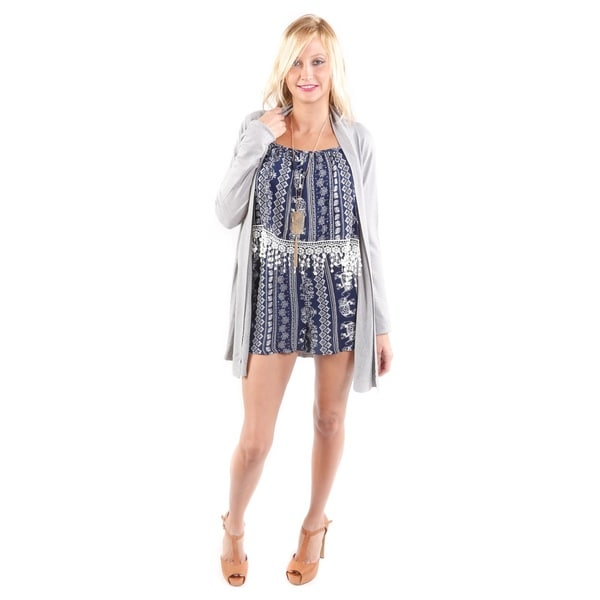 Hadari Women's Long Open Front Cardigan and Elephant Print Short Romper 2-piece Set