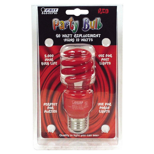 Feit Electric BPESL13T/R 13 Watt Red Compact Fluorescent Mini Twist Party Bulbs