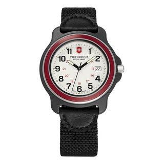 Victorinox Swiss Army Men's Black Stainless Steel Nylon Strap Original XL 249085 Red Bezel Watch