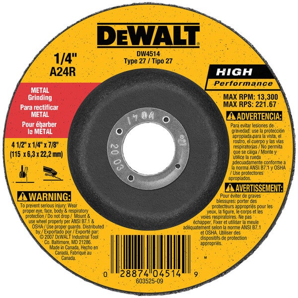Dewalt DW4514 Fast Cut Metal Depressed Center Grinding Wheel