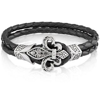 Crucible Stainless Steel Fleur de Lis Black Genuine Leather Bracelet - 7.75 inches (10mm Wide)