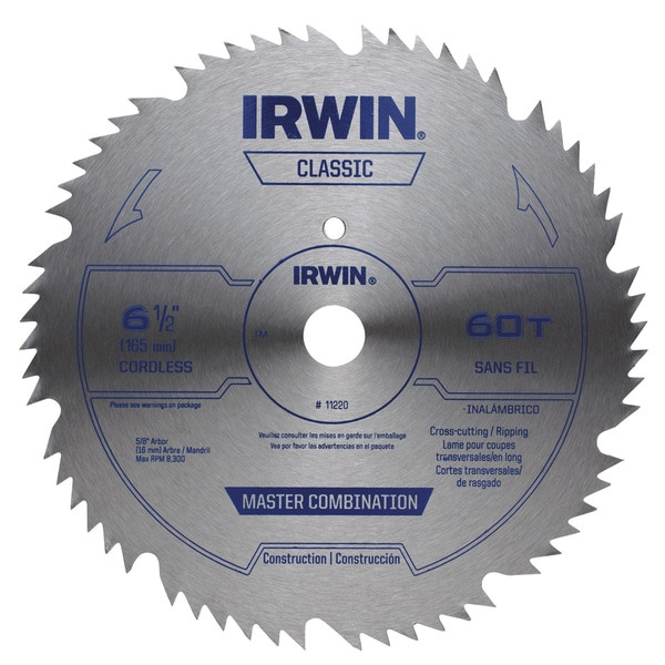 Irwin 11220 6-1/2 Steel 60 Tooth Master Combination Circular Saw Blade