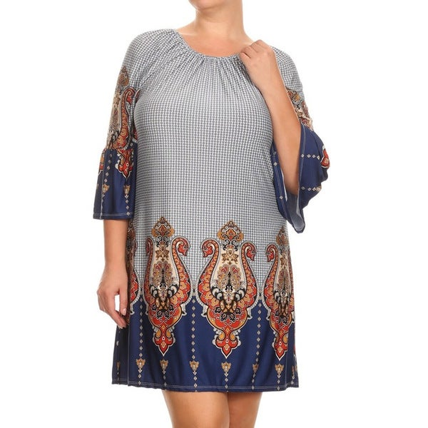 MOA Collection Plus Border Print Navy Dress