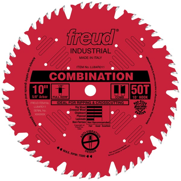 "Freud LU84R011 10"" 50T Industrial Combination Blade"